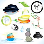 stock photo of ying yang  - Zen and oriental theme vector design elements - JPG