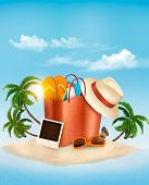 pic of beach hat  - Seaside view with a palm tree - JPG