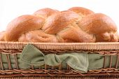 picture of sabbatical  - basket of challah bread isolated on white - JPG