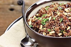 picture of pine nut  - Bowl of Quinoa Pilaf with parsley pine nuts and cranberries - JPG