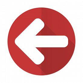 foto of arrow  - left arrow red flat icon arrow sign - JPG