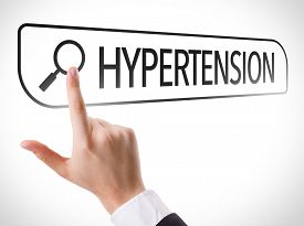 picture of hypertensive  - Hypertension written in search bar on virtual screen - JPG