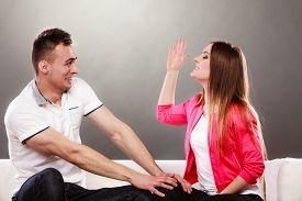 stock photo of fool  - Happy couple having fun and fooling around - JPG