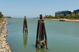 image of inlet  - Office buildings along an inlet Oyster Point South San Francisco California - JPG