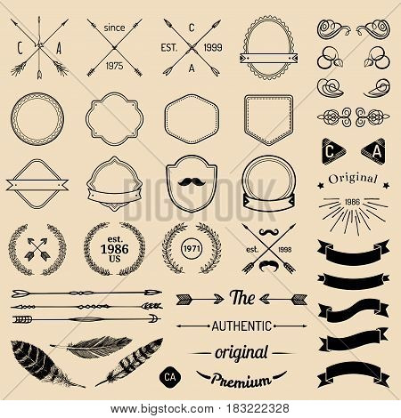 poster of Vintage hipster logo elements with arrows, ribbons, feathers, laurels, badges. Design your own vintage label. Retro emblem template constructor. Prime icon creator.