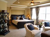 picture of master bedroom  - Nicely decorated master bedroom in a newly built luxury home - JPG