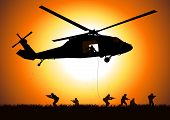 stock photo of attack helicopter  - Vector illustration of a helicopter dropping the troops - JPG