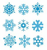 stock photo of bordure  - Nine original vector blue snow - JPG