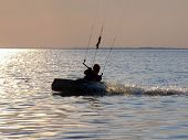 Silhouettes Kitesurf On A Gulf On A Sunset 2