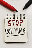 the text stop bullying written in a page of a spiral notebook and some marker pens on an off-white s poster
