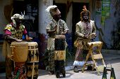 African Drummers performing an african folk song