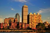 stock photo of prudential center  - Boston sky line on a bright sunny after noon - JPG