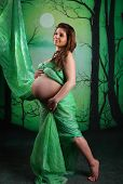 Beautiful Pregnant Woman With Moslin