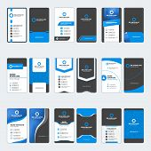 Set Of Modern Business Card Print Templates. Vertical Business Cards. Blue And Black Colors. Persona poster