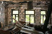abandoned burnt house