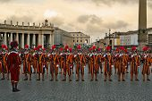 VATICAN - CIRCA APRIL 2005 : Pontifical Swiss Guards stand by during pope elections circa April 2005