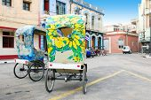 Colorful painted bici or bike taxi's for tourists in Camaguey, Cuba
