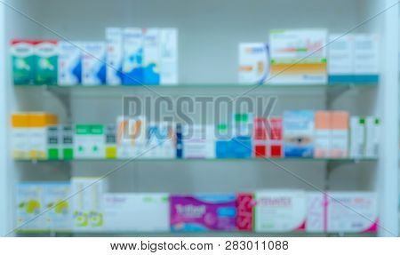Blurred Picture Of Medicine Shelf