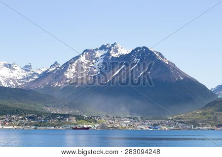 Ushuaia Cityscape From Beagle Channel