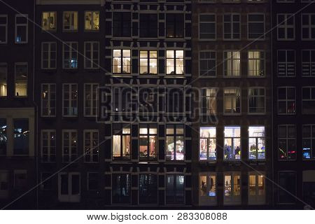 Netherlands Amsterdamnight Facade Of Houses