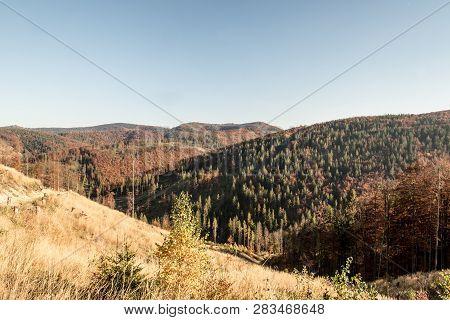 Autumn Beskid Zywiecki Mountains On