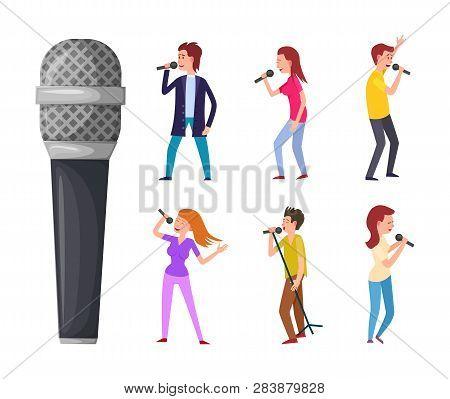Men And Women Singing Microphone