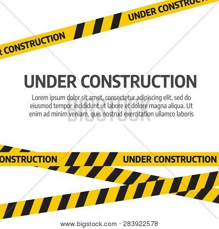 poster of Under Construction Website Page. Under Construction Tape Warning Banner Vector