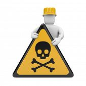 Person with danger skull sign. Image contain clipping path
