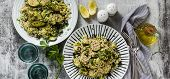 Banner Of Salad With Rice With Zucchini, Avocado, Olives And Capers. Healthy Spring Summer Vegan Cui poster