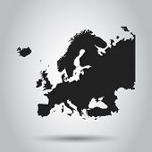 Europe Map Icon. Flat Vector Illustration. Europe Sign Symbol With On White Background. poster
