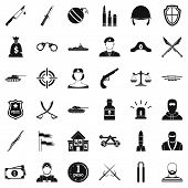 War Weapon Icons Set. Simple Style Of 36 War Weapon Icons For Web Isolated On White Background poster