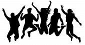 People Jump Vector Silhouette. Jumping Friends Youth Background. Crowd People, Close To Each Other.  poster