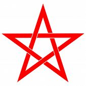 Pentagram Or Pentalpha Or Pentangle. Dot Work Ancient Pagan Symbol Of Five-pointed Star Isolated Ill poster