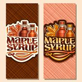 Vector Vertical Banners For Maple Syrup, Leaflet With 2 Plastic And Glass Bottles With Sweet Syrup A poster