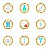 Medical Laboratory Icon Set. Cartoon Set Of 9 Medical Laboratory Icons For Web Isolated On White Bac poster