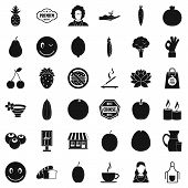 Vegetarian Kitchen Icons Set. Simple Style Of 36 Vegetarian Kitchen Icons For Web Isolated On White  poster