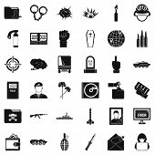 Army Icons Set. Simple Style Of 36 Army Icons For Web Isolated On White Background poster