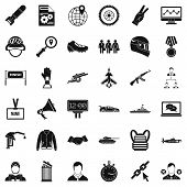 Victory In War Icons Set. Simple Style Of 36 Victory In War Icons For Web Isolated On White Backgrou poster