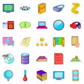 Info Icons Set. Cartoon Set Of 25 Info Icons For Web Isolated On White Background poster