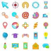 Online Entertainment Icons Set. Cartoon Set Of 25 Online Entertainment Icons For Web Isolated On Whi poster