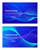 Blue Abstract Frequency Wave Shape Landing Page Background Set. Futuristic Technology Digital Motion poster