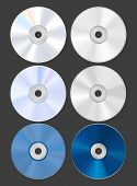 Set of discs. CD DVD Blu-ray. Both sides. Vector Illustration