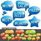 Collection of brightly colored, glossy bubbles. Vector Illustration