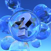 Question mark and soap bubbles