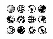 Earth Globe Icons. World Map Geography Internet Global Commerce International Tourism Vector Globe S poster