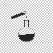 Test Tube And Flask - Chemical Laboratory Test Icon Isolated On Transparent Background. Laboratory G poster