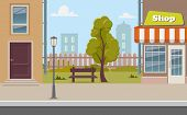 Cute Cartoon Town Street With A Shop, Tree, Bench, Fence, Street Lamp. City Street Background Vector poster