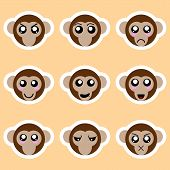 Set Of Monkey Stickers. Different Emotions, Expressions. Sticker In Anime Style. Vector Illustration poster