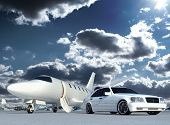 stock photo of jet  - Cg luxury jet plane and cg car - JPG