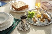 Table Served For Passover (pesach) Seder Indoors poster